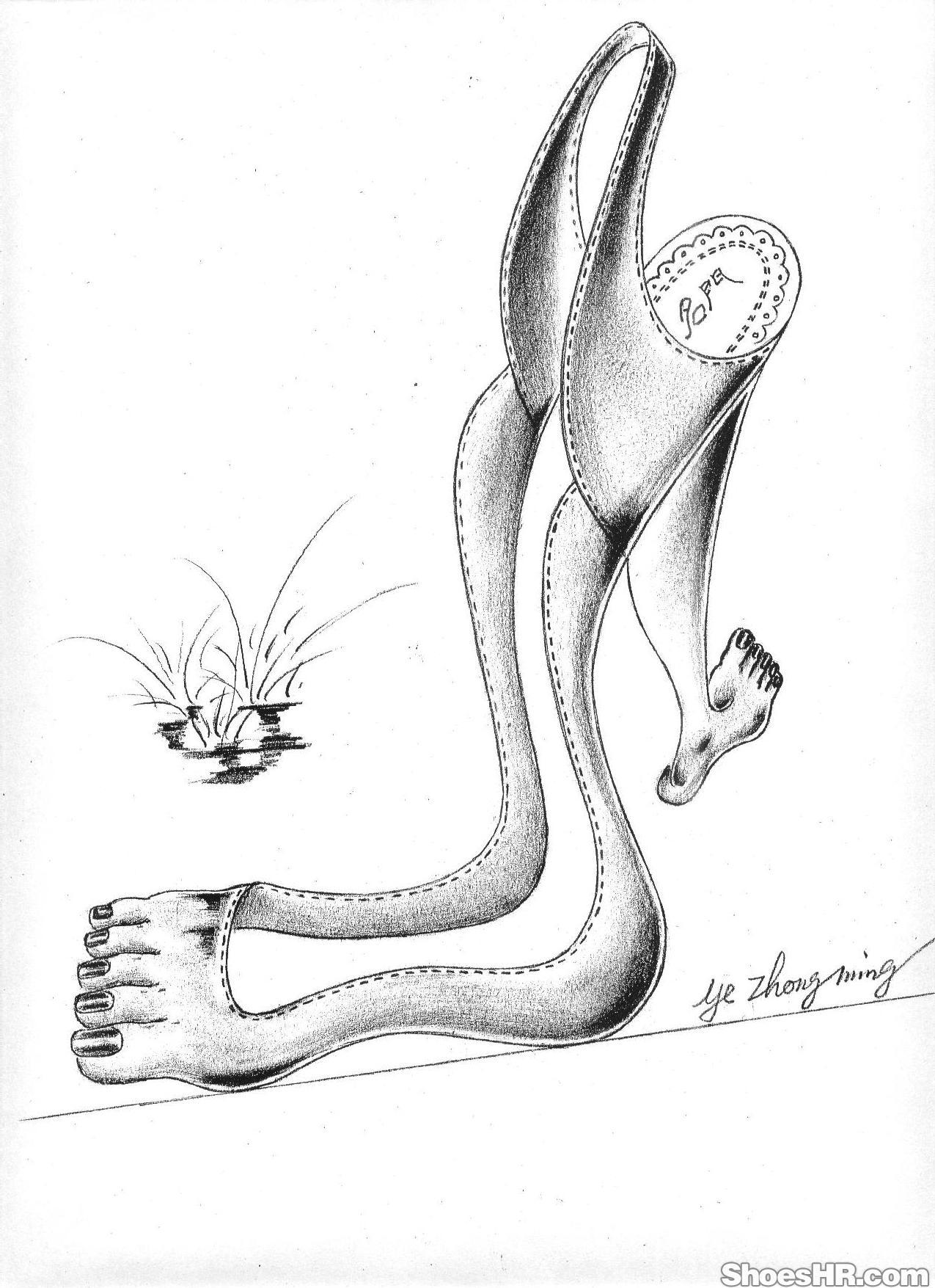 获奖创意手稿——脚型后空凉鞋,寅-叶-子--鞋业设计师图片