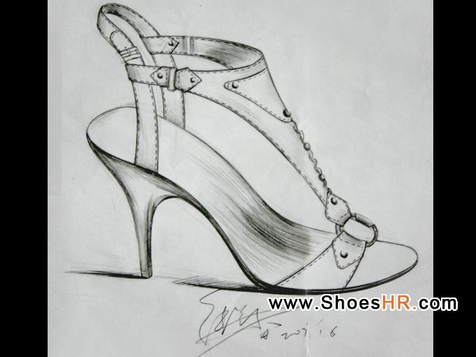 这是在奥康集团上班时画的一张手稿凉鞋图片