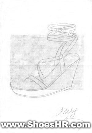 女高底台凉鞋手稿,更美丽--中国鞋业设计师网图片