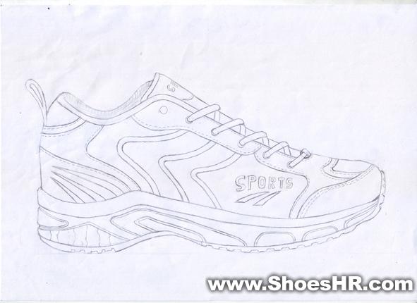 男款运动鞋手稿,高金保--中国鞋业设计师网图片
