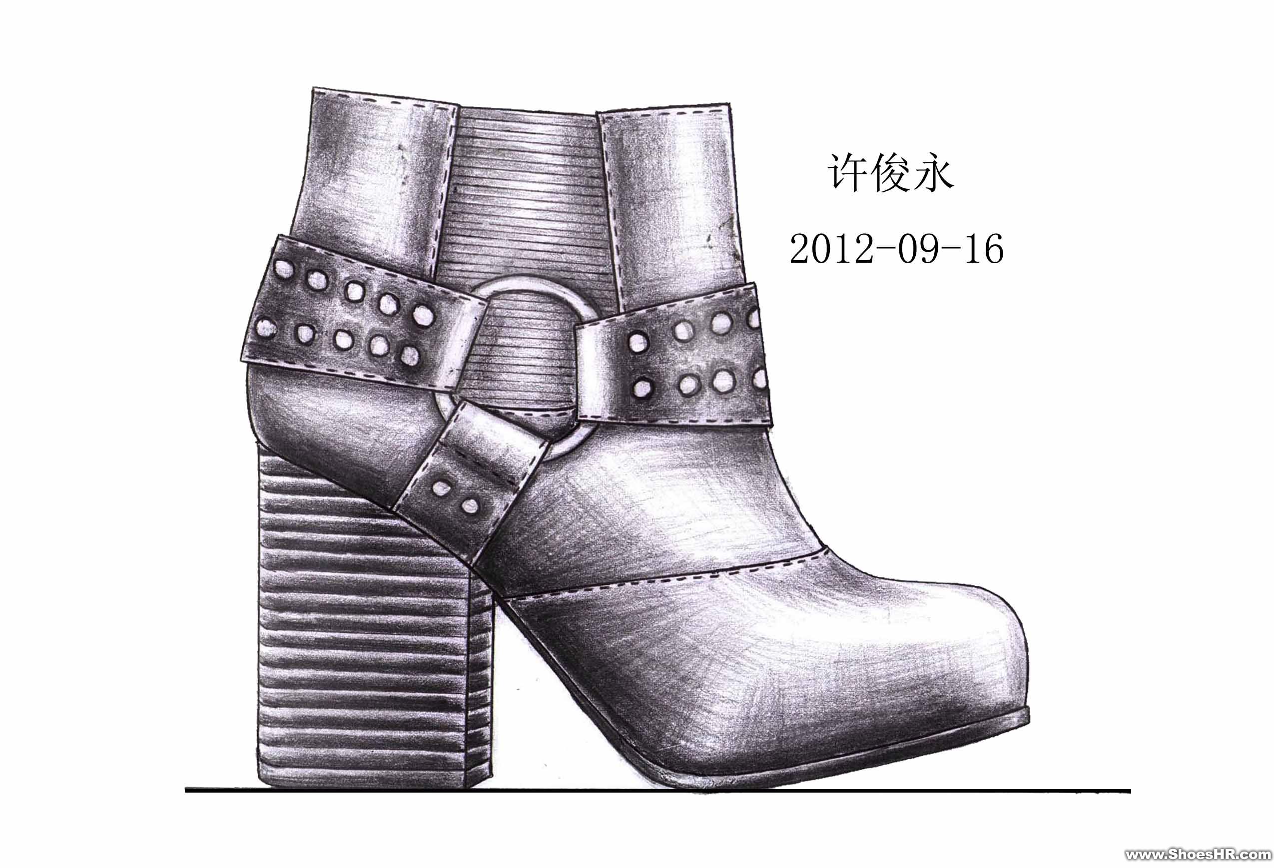 手绘女鞋素描二